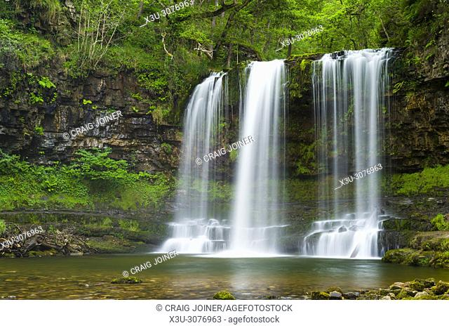 Sgwd yr Eira (Fall of Snow) waterfall on the Afon Hepste river in the Brecon Beacons National Park near Ystradfellte, Powys, Wales