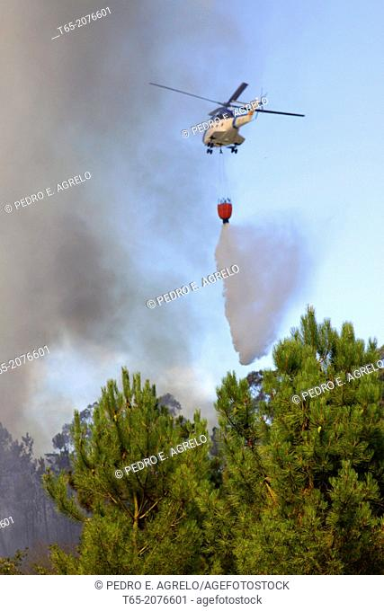 A helicopter drop water on a forest fire in Palas de Rey in Galicia