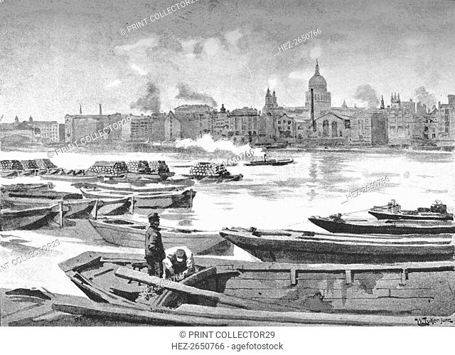 'St. Paul's Cathedral from the South Bank of the River', 1891. Artist: William Luker
