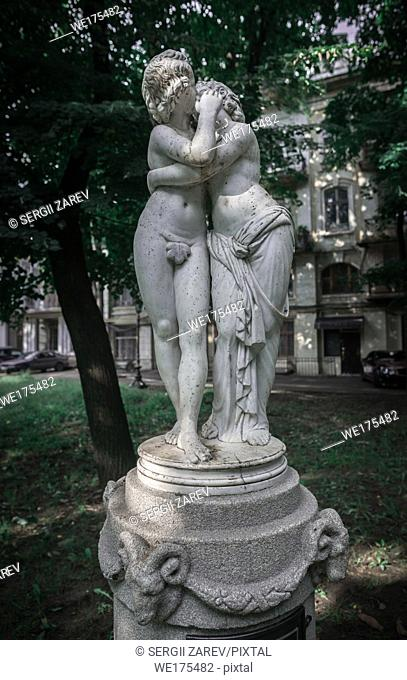Odessa, Ukraine - 09. 12. 2018. sculpture Eros and Psyche in the Odessa City square Palais-Royal