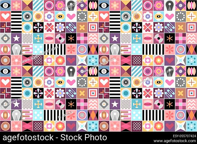 Abstract seamless vector background. Mix of various decorative geometric patterns and shapes