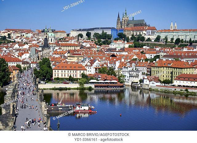 Prague Czech Republic. Aerial view of the castle (hrad), Vltava river and Charles Bridge