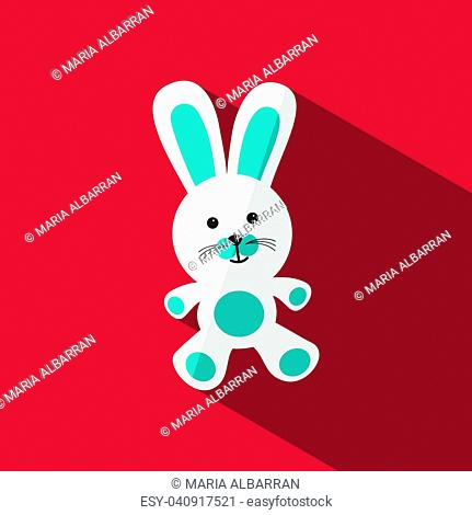 White and blue bunny with shade on red background