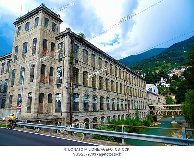 Bellano, Province of Lecco, region Lombardy, eastern shore of Lake of Como, Italy. Cantoni' factory, Via Roma, in Moltrasio stone