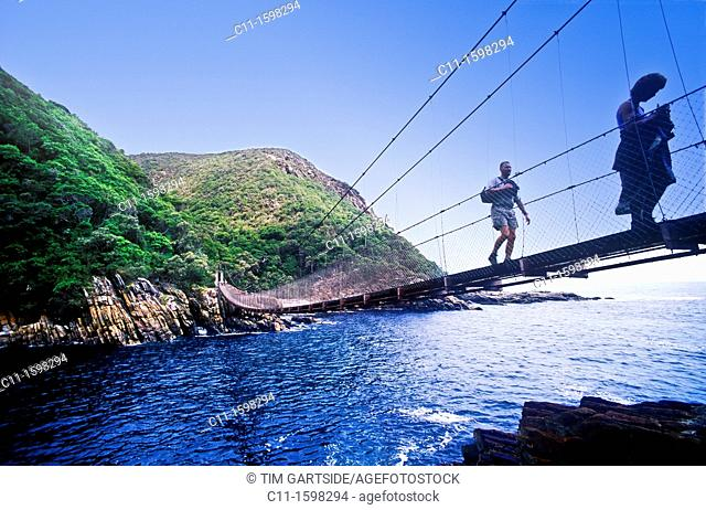 suspension bridge at storms river national park with sea and hills in background sunny blue sky garden route south africa mountains