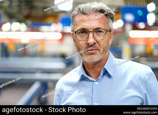 Portrait of a confident mature businessman in a factory
