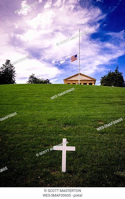 USA, Virginia, Arlington, Arlington National Cemetary, Robert F Kennedy gravesite, US Flag at half mast