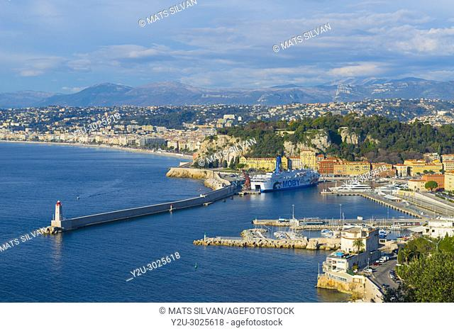 Panoramic View Over Nice and Coastline in Provence-Alpes- Côte d'Azur, France.