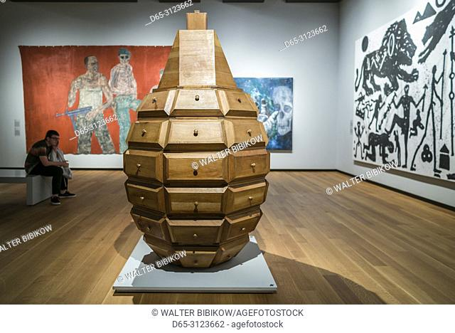 Canada, Quebec, Montreal, Musee des Beaux Arts, fine arts museum, Estuche, jewelry case in the shape of a grenade, by the Cuban arts group, Los Carpinteros