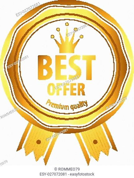 Luxury golden premium quality best choice labels set isolated vector