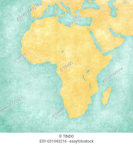 Blank map of Africa with country borders. The Map is in vintage summer style and sunny mood. The map has soft grunge and vintage atmosphere