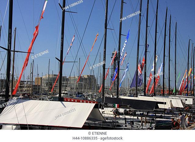 Spain, Europe, Catalonia, Barcelona, harbour, port, boats, tower, rook, Rambla del Mar, Maremagnum, shopping, sail boats, cable railway, San Sebastian