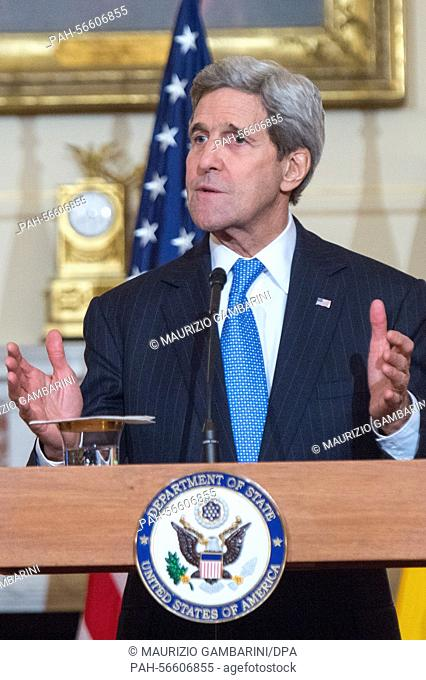 US Secretary of State John Kerry (R) speaks during a press conference in the Benjamin Franklin room of the State Department in Washington, DC, USA 11 March 2015