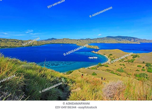Beautiful view of Flores Island, Indonesia with dramatic blue sky