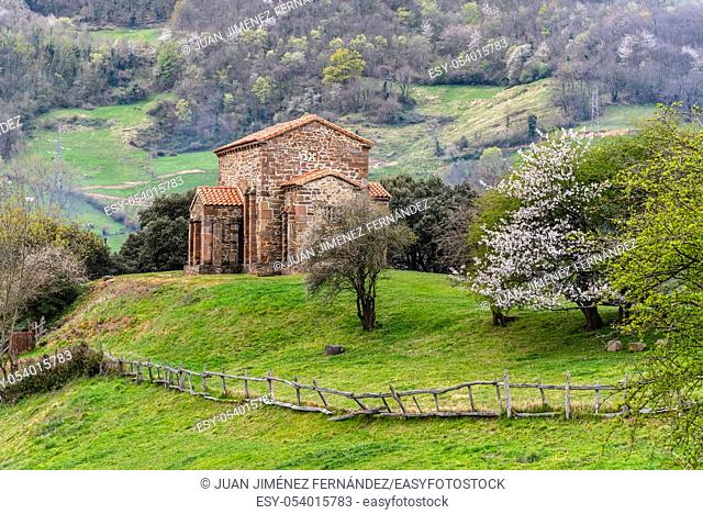 Exterior view of St Christine of Lena church at spring. Santa Cristina de Lena is a Catholic pre-Romanesque church located in Asturias, Spain