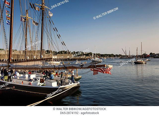 USA, Massachusetts, Cape Ann, Gloucester, America's Oldest Seaport, Gloucester Schooner Festival, schooners, dusk
