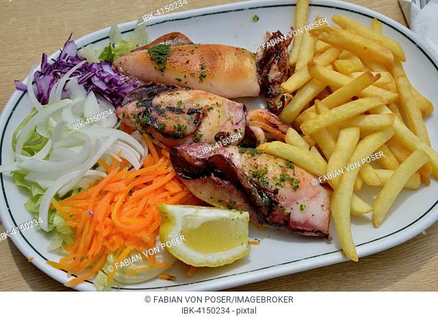 Grilled squid, fries and salad on a plate, Majorca, Balearic Islands, Spain