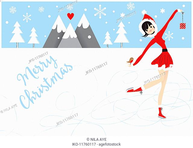 Christmas card with pretty woman ice skating in Santa outfit