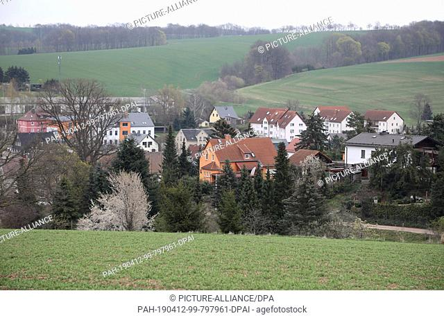 12 April 2019, Saxony, Mülsen: The small town of Mülsen. On 11 April, a 13-year-old girl was dragged into a van by a man and kidnapped