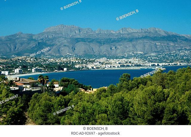 View from mountain Raco del Albir on the bay L'Alfas de Pi Altea Costa Blanca Spain