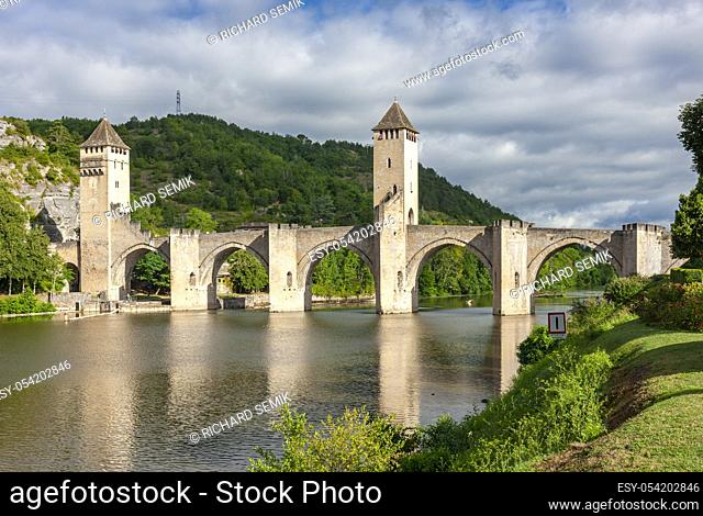 Pont Valentre across the Lot River in Cahors south west France