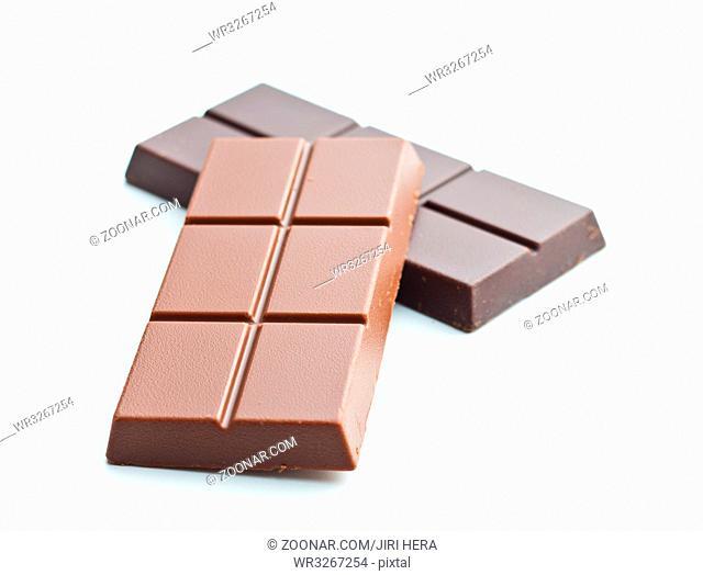 Sweet chocolate bars isolated on white background