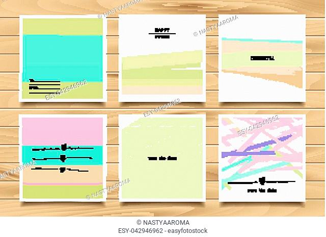 Set of artistic creative universal cards. Hand Drawn textures. Vector illustration on wooden background