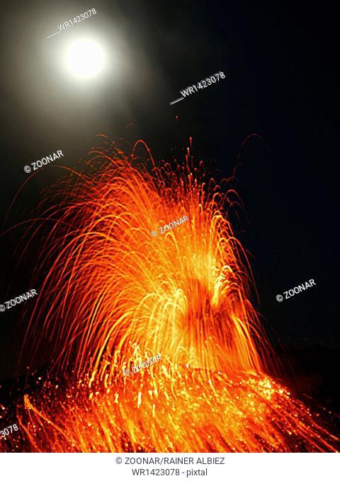 Full moon eruption volcano Stromboli erupting
