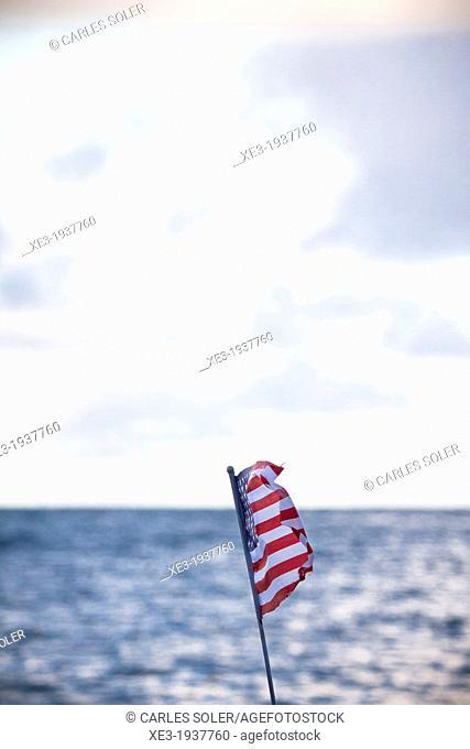 U.S. flag waving, Oahu, Hawaii