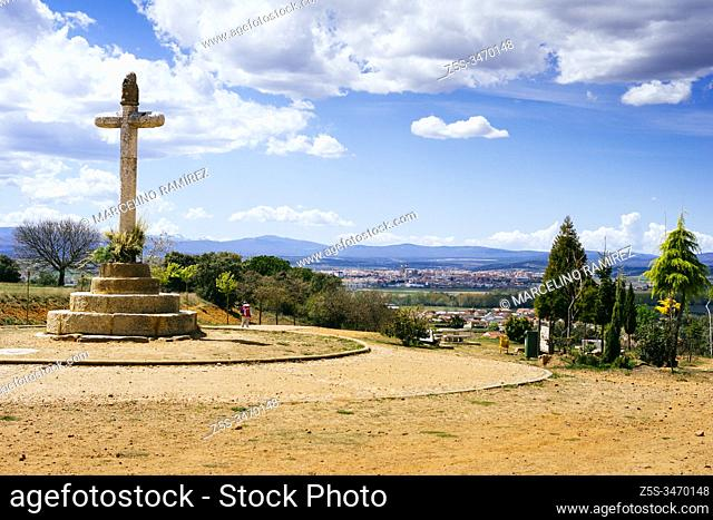 Crucero de Santo Toribio. Santo Toribio cross stone. From this point you can see the town of San Justo de la Vega and in the background the city of Astorga