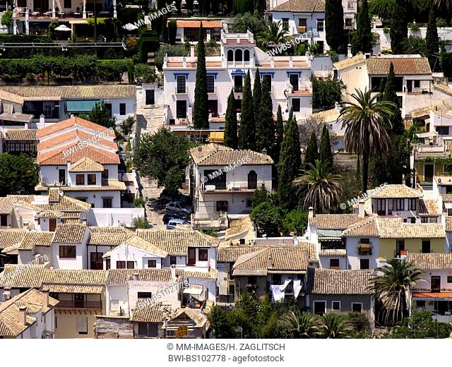 view from the Alhambra to Albaicin, Spain, Andalusia, Granada