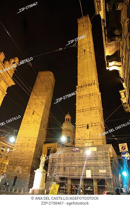 Ancient Towers by night on September 5, 2014 in Bologna Emilia Romagna Italy