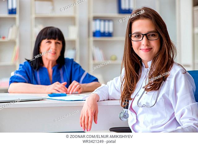 Senior patient visiting doctor for regular check-up