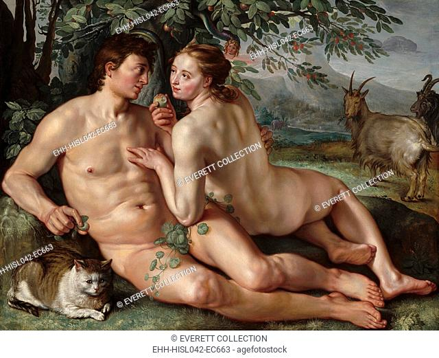 The Fall of Man, by Hendrick Goltzius, 1616, Dutch painting, oil on canvas. Goltzius presents the seduction based on mutual romantic attraction