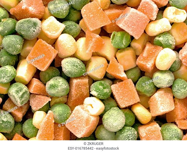 close up of frozen diced vegetables food background