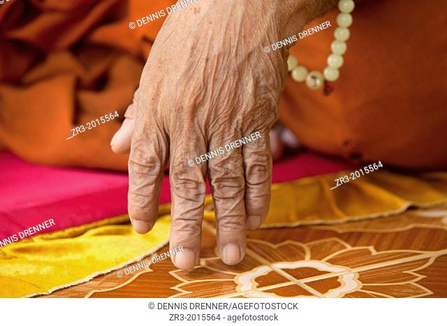 Details of the hand of an 80-year-old blind monk lives in a temple in a village near Battambang, Cambodia