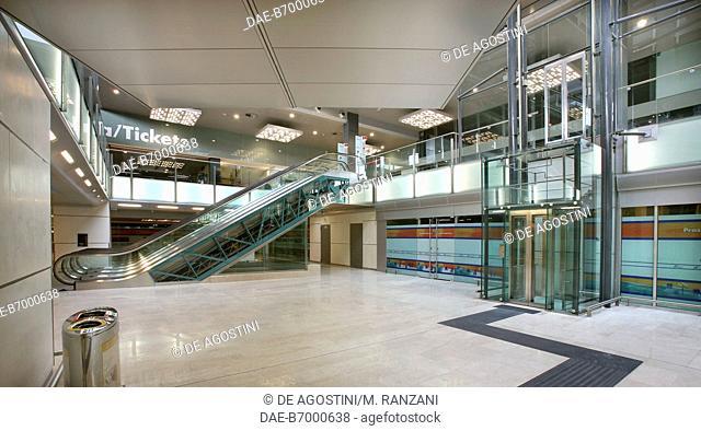 Milano Porta Garibaldi railway station lobby in September 2005 after renovation, Milan, Lombardy, Italy