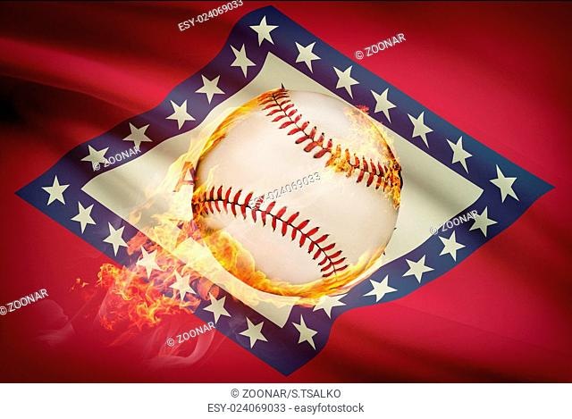 Baseball ball with flag on background series - Arkansas