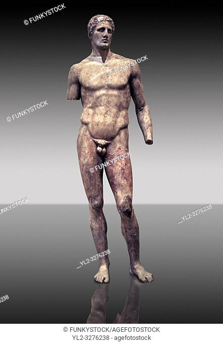 Statue of Hagias the athlete, and this is a marble copy of a bronze statue made by Lysippos in 340 BC. Delphi Archaeological Museum