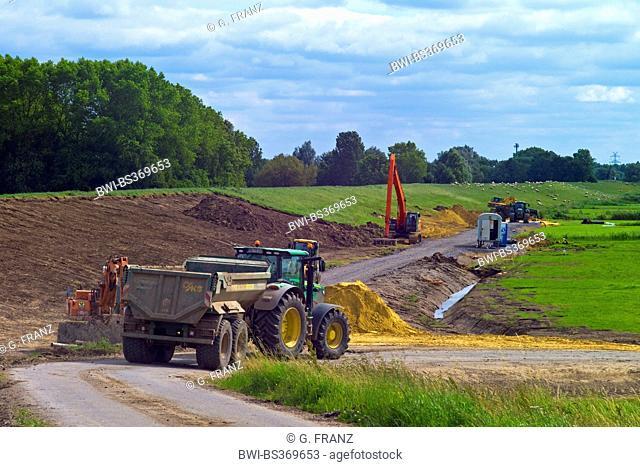 dike construction site, Germany, Lower Saxony, Osterholz, Neuenkirchen