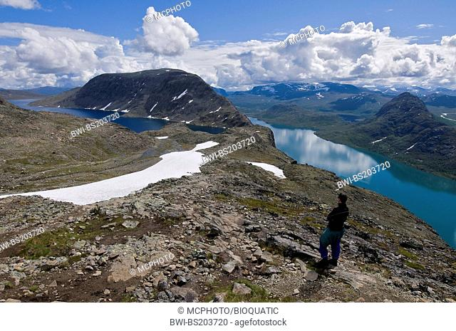 view over the lakes Bessvatnet (left) and Gjende on the trail over the Besseggen in the Jotunheimen mountains, Norway, Oppland, Gjendesheim