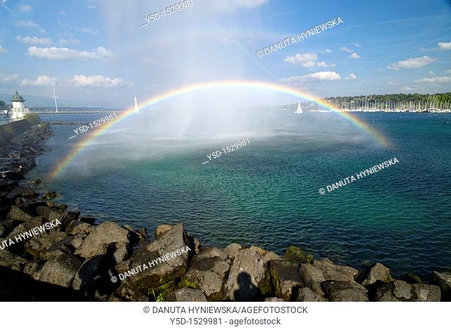 rainbow on Geneva Lake, Switzerland
