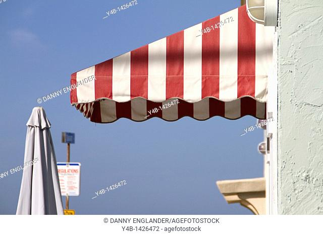 Striped Awning along an alleyway, Pacific Beach, San Diego, California