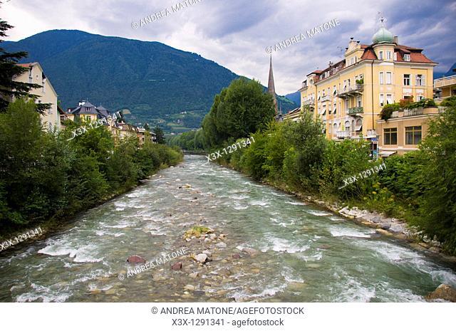 River Passirio in the town of Merano, South Tyrol Sud Tirolo, Trentino Alto Adige, Italy