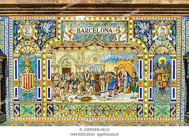 Antique ceramic, wall tiles representing provinces and cities of Spain , Barcelona , Placa de Espana, spanish square, Seville, Andalusia, Spain