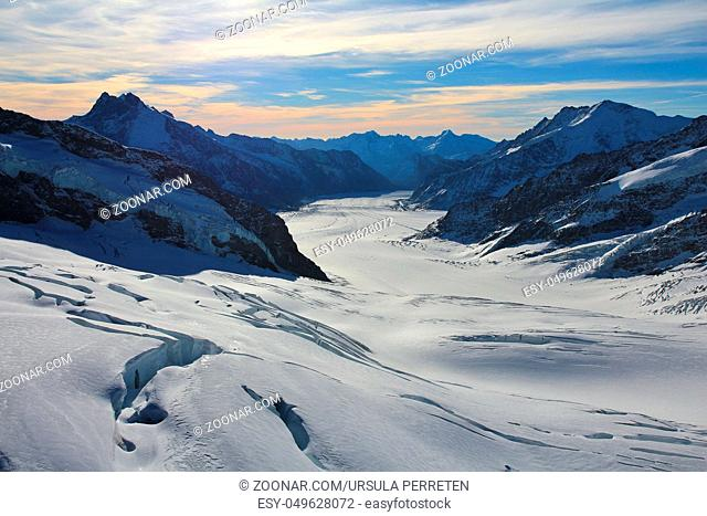 Aletsch glacier and mountains. View from Jungfraujoch, Switzerland
