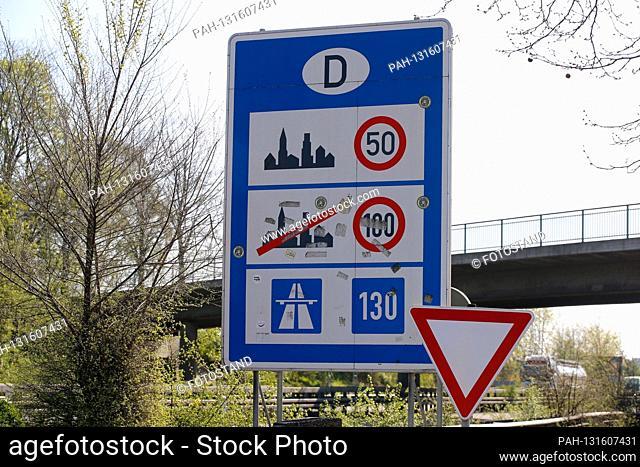 Herongen, Germany April 10th, 2020: Symbol pictures - Coronavirus - 04/10/2020 border sign Germany, border Netherlands, traffic sign
