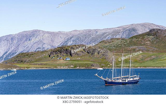 Sailing ship in the fjords of South Greenland. America, North America, Greenland, Denmark