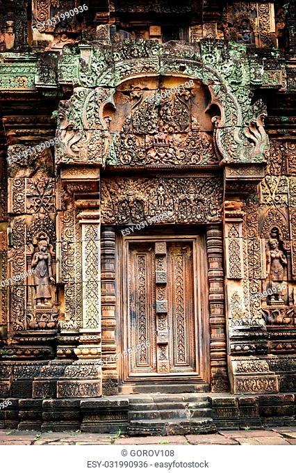 The most picturesque castle of Angkor Thom in Cambodia. Banteay Srei castle