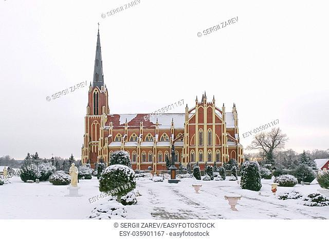 Catholic Church in Gervyaty village, Belarus, winter times